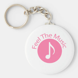 Pink - Feel the Music Basic Round Button Keychain