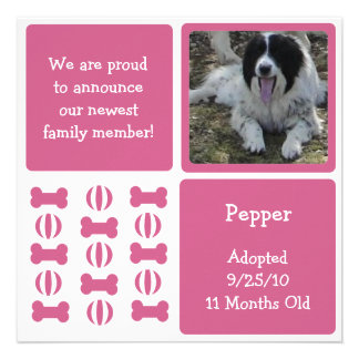 Pink Female Dog Pet Announcement Photo Cards