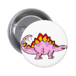 Pink female Stegosaurus Pinback Buttons