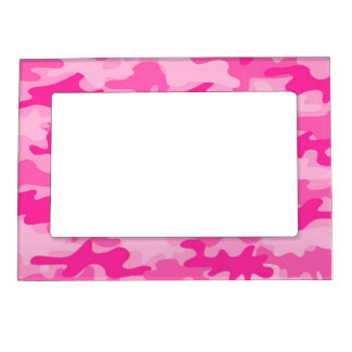 Pink Feminine Camo Camouflage Girls Picture Frame Magnets