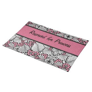 Pink Fern Cat Personalized for Pet Cloth Placemat