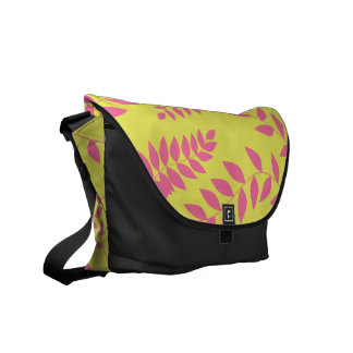 Pink Ferns on Apple Green Pattern Commuter Bags
