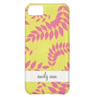 Pink Ferns on Apple Green Pattern iPhone 5C Cases