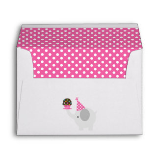 Pink Festive Birthday Elephant Envelope