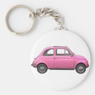Pink Fiat 500 vintage Italian car Keychain