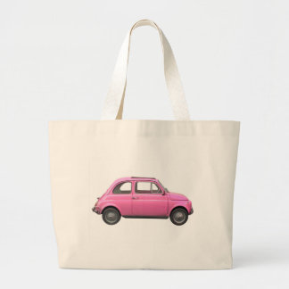Pink Fiat 500 vintage Italian car Large Tote Bag