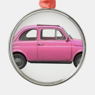 Pink Fiat 500 vintage Italian car Metal Ornament