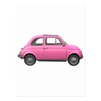 Pink Fiat 500 vintage Italian car Postcard