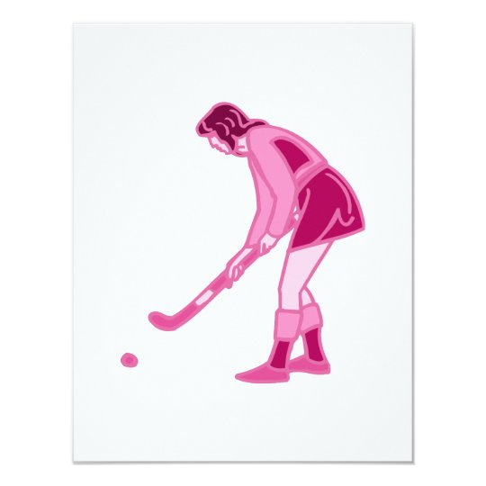 Pink Field Hockey Girl Card