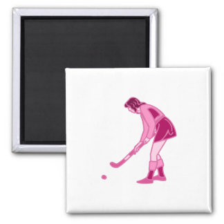 Pink Field Hockey Girl Magnet