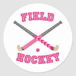 Pink Field Hockey Logo Classic Round Sticker