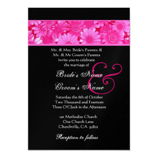 Pink Field of Daisies Wedding Metallic Paper Card