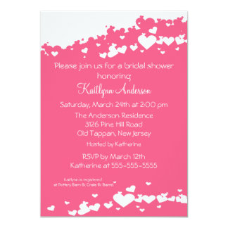 Pink Field of Hearts Bridal Shower Invitation