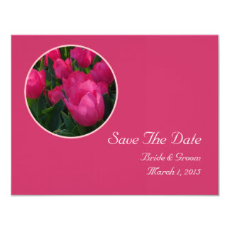 Pink Field of Tulips Save The Date Card