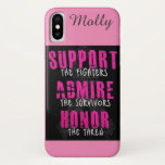 Pink Fight Breast Cancer Ribbon Gift Custom Text iPhone XS Case