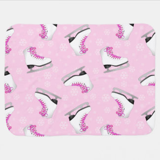 Pink Figure Skating Pattern Receiving Blanket