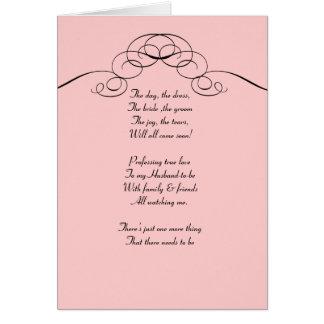 Pink  Filigree Be my bridemaid card