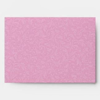 Pink Filigree Envelope - A7 Greeting Card