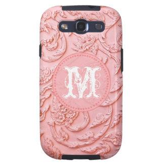 Pink Filigree Wood Carv Monogram Samsung Galaxy S3 Samsung Galaxy SIII Cover