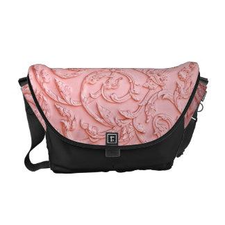 Pink Filigree Wood Carving Floral Bag Tote Purse Messenger Bag