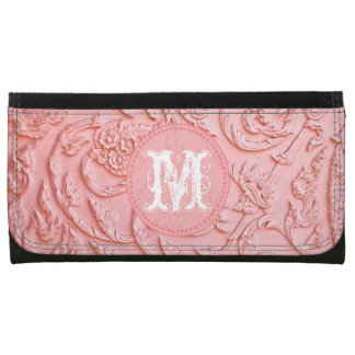 Pink Filigree Wood Carving Floral Monogram Wallet