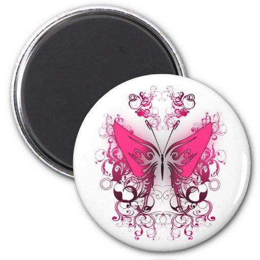 Pink Fire 2 Inch Round Magnet
