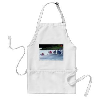 pink fire fighters on airboat in florida adult apron
