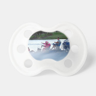 pink fire fighters on airboat in florida BooginHead pacifier