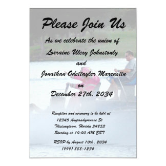 pink fire fighters on airboat in florida 5x7 paper invitation card