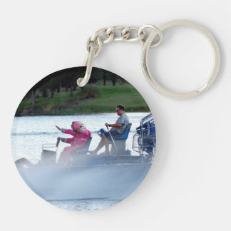 pink fire fighters on airboat in florida keychains
