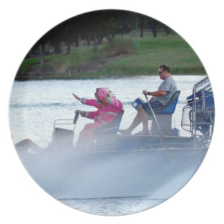 pink fire fighters on airboat in florida dinner plate