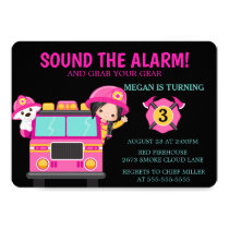 Pink Fire Truck Kids Firefighter Invitation