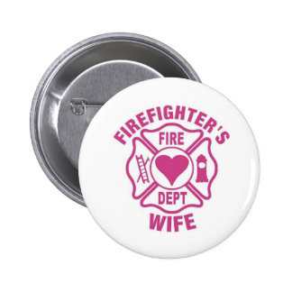 Pink firefighter's wife button pin