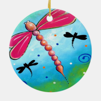 Pink Firefly Design Ceramic Ornament
