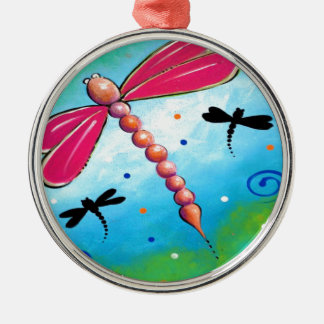 Pink Firefly Design Metal Ornament
