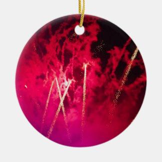 Pink Firework Photograph Ceramic Ornament