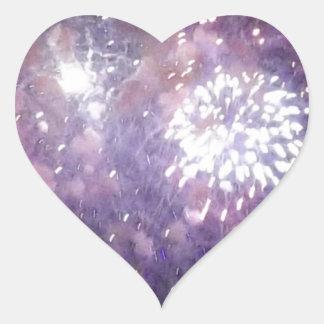 Pink Fireworks in the Sky Heart Sticker
