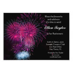 Pink Fireworks Retirement Party Invitation