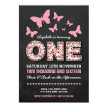 PINK FIRST BIRTHDAY PARTY | FLORAL BUTTERFLIES CARD