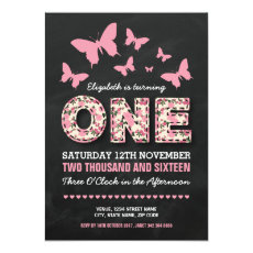 Butterfly Floral Pink First Birthday Invitation