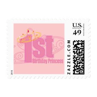 pink first BIRTHDAY PRINCESS custom stamp
