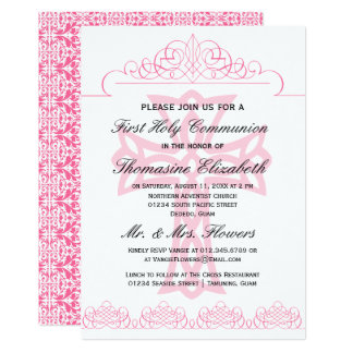 Pink First Holy Communion Cross Invitations