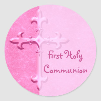 Pink First Holy Communion Sticker