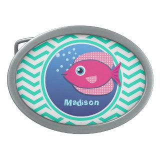 Pink Fish; Aqua Green Chevron Oval Belt Buckles
