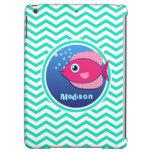 Pink Fish; Aqua Green Chevron iPad Air Cover