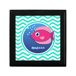Pink Fish; Aqua Green Chevron Keepsake Box