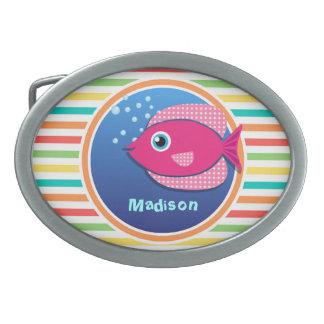 Pink Fish; Bright Rainbow Stripes Oval Belt Buckle