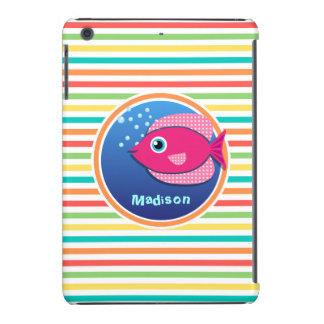 Pink Fish; Bright Rainbow Stripes iPad Mini Covers