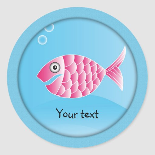 Pink fish design classic round sticker
