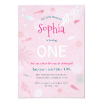 Pink Fish Kids Birthday Party Card